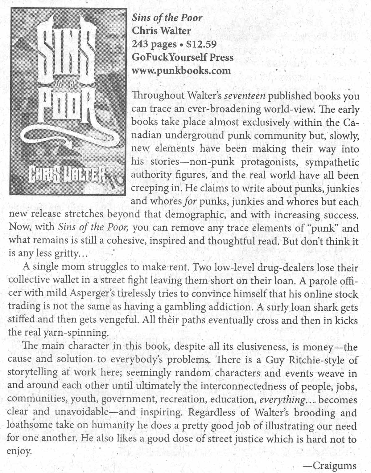 MRR Sins of the Poor review - Spring 2011